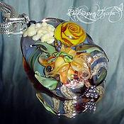 """Украшения ручной работы. Ярмарка Мастеров - ручная работа Кулоны лэмпворк """"Спорила лилия с розой"""". Handmade."""