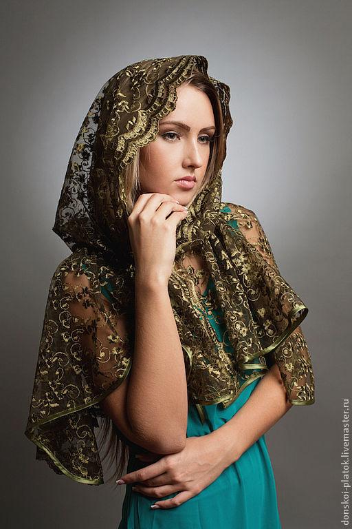 """Шали, палантины ручной работы. Ярмарка Мастеров - ручная работа. Купить платок в храм """"Ярина"""". Handmade. Тёмно-зелёный"""