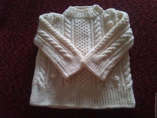 Одежда унисекс ручной работы. Ярмарка Мастеров - ручная работа. Купить свитер детский. Handmade. Аранские узоры, свитер теплый