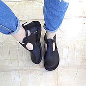 Обувь ручной работы. Ярмарка Мастеров - ручная работа Полуботинки на ремешке с пряжкой. Handmade.