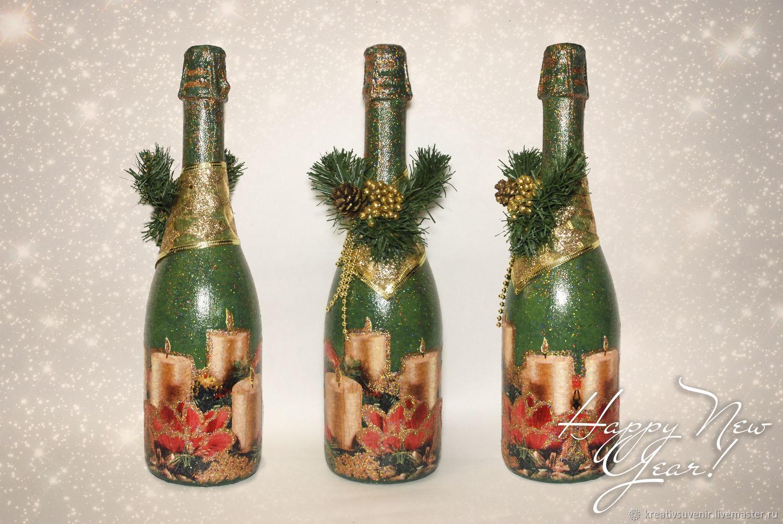 Шампанское на новый год декупаж