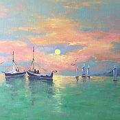 Картины и панно handmade. Livemaster - original item Magical Sunset! Oil. 40 by 60 cm. Handmade.