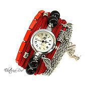 """Украшения ручной работы. Ярмарка Мастеров - ручная работа Стильные часы наручные  """"Время стиля"""" часы женские, часы красные. Handmade."""