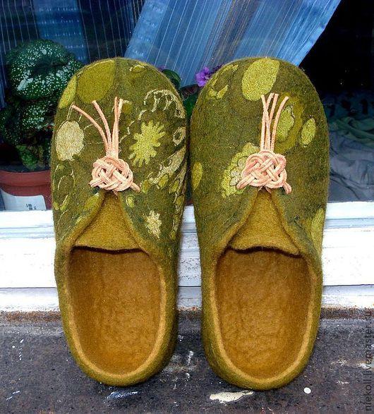 """Обувь ручной работы. Ярмарка Мастеров - ручная работа. Купить Домашние тапочки """"Кельтский узел"""". Handmade. Хаки, кожаный шнур"""