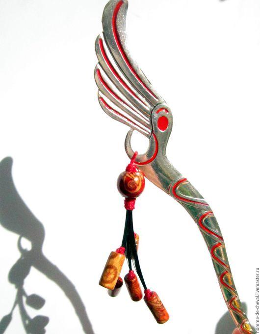 """Заколки ручной работы. Ярмарка Мастеров - ручная работа. Купить Кандзаси """"Цветок Огня"""". Handmade. Серебряный, шпилька для волос"""