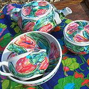 """Посуда ручной работы. Ярмарка Мастеров - ручная работа Сет эгоист """"Цветочная поляна"""". Handmade."""
