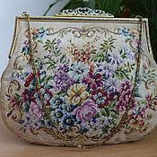 Винтаж ручной работы. Ярмарка Мастеров - ручная работа Великолепная сумочка с изящным фермуаром и тончайшей вышивкой Petit Po. Handmade.