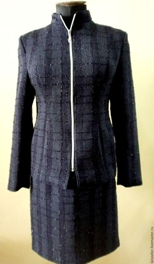 Одежда. Ярмарка Мастеров - ручная работа. Купить Винтажный вечерний костюм 1980-х. Б/У.. Handmade. Тёмно-синий, винтаж