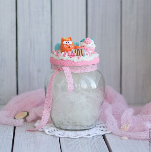 Декоративная посуда ручной работы. Ярмарка Мастеров - ручная работа. Купить Баночка для сладостей с котиком. Handmade. Комбинированный, полимерная глина