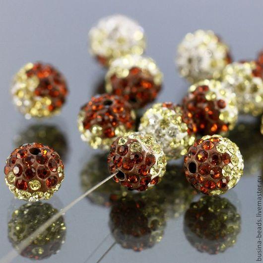 Бусины пластиковые формы шар диаметром 10 мм усыпанные мельчайшими стеклянными стразамии ювелирной огранки с ярким искрящимся блеском трех цветов для сборки украшений