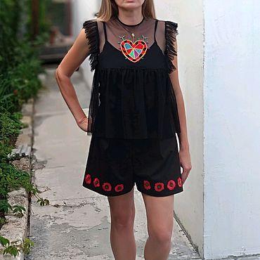"""Одежда ручной работы. Ярмарка Мастеров - ручная работа Шорты женские """"Маки"""". Handmade."""