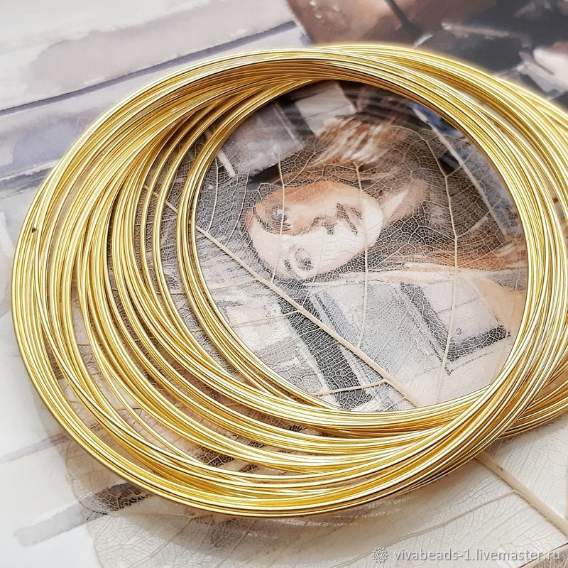 10 Vit. Memory wire 60 mm for bracelet color gold (art. 139-Z), Wire, Voronezh,  Фото №1