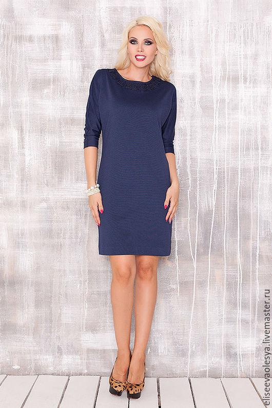 Платья ручной работы. Ярмарка Мастеров - ручная работа. Купить Удобное платье 27017. Handmade. Синий, трикотажное платье