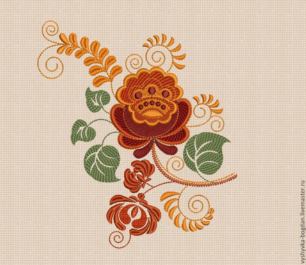 Flowers kokhloma embroidery design satin stitch hoop size 14 x 20 cm p –  shop online on Livemaster with shipping - CTVB5COM | Ivano-Frankivsk