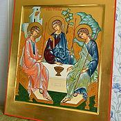 Картины и панно handmade. Livemaster - original item HOLY TRINITY , hand painted icon on gold. Handmade.