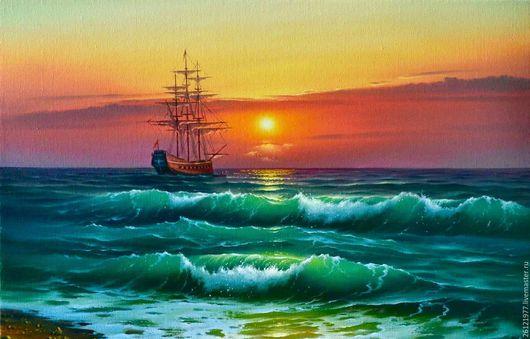 Картина маслом на холсте `Вечерний шум прибоя`