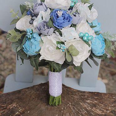Свадебный салон ручной работы. Ярмарка Мастеров - ручная работа Букет невесты , Свадебный букет голубой, букет невесты с пионами. Handmade.