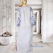 Одежда ручной работы. Ярмарка Мастеров - ручная работа Платье в пол с вышивкой Макси платье из льна Бохо платье вышиванка. Handmade.