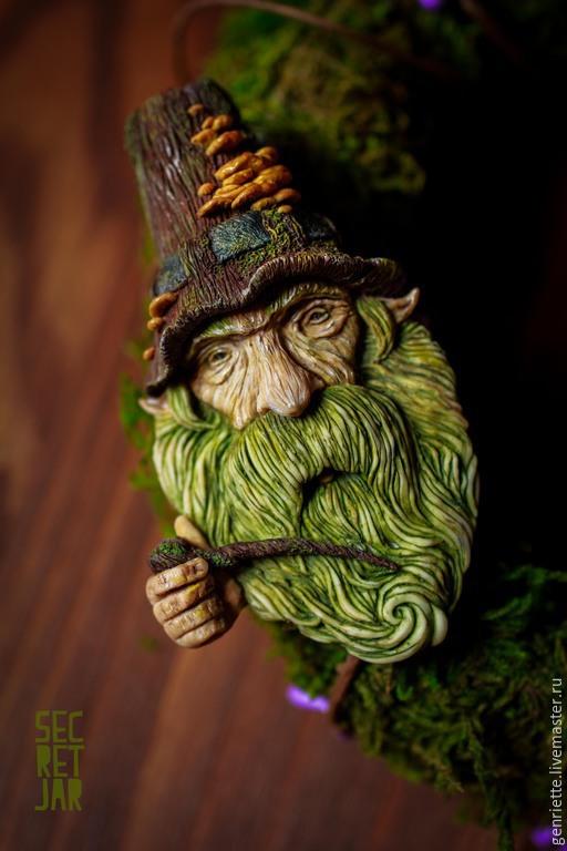"""Броши ручной работы. Ярмарка Мастеров - ручная работа. Купить Брошь """"Грибной гном"""". Handmade. Зеленый, борода, магия, гриб"""