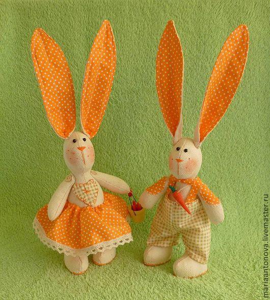 """Подарки для влюбленных ручной работы. Ярмарка Мастеров - ручная работа. Купить Зайчики """"Ты-моя любимая морковка!"""". Handmade. Оранжевый"""