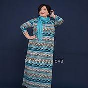 Одежда handmade. Livemaster - original item Dress viscose zigzag turquoise. Art. 3421. Handmade.