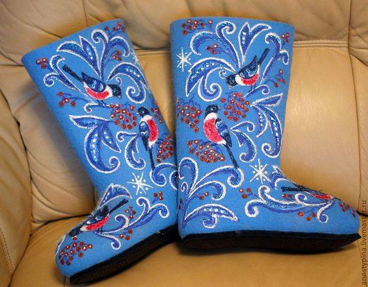 Обувь ручной работы. Ярмарка Мастеров - ручная работа. Купить валенки  Снегири. Handmade. Голубой, валенки для улицы, валенки на подошве