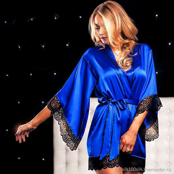 Silk robe with lace Sapphire blue Gift to a girl, Robes, St. Petersburg,  Фото №1