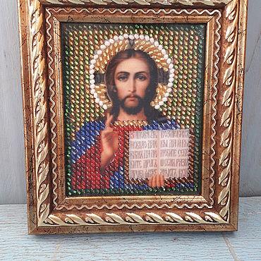 """Картины и панно ручной работы. Ярмарка Мастеров - ручная работа Икона """"Господь Вседержитель"""" вышитая бисером. Handmade."""