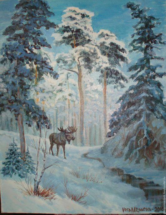 """Пейзаж ручной работы. Ярмарка Мастеров - ручная работа. Купить """"Лось в зимнем лесу"""". Handmade. Голубой, подарок на любой случай"""