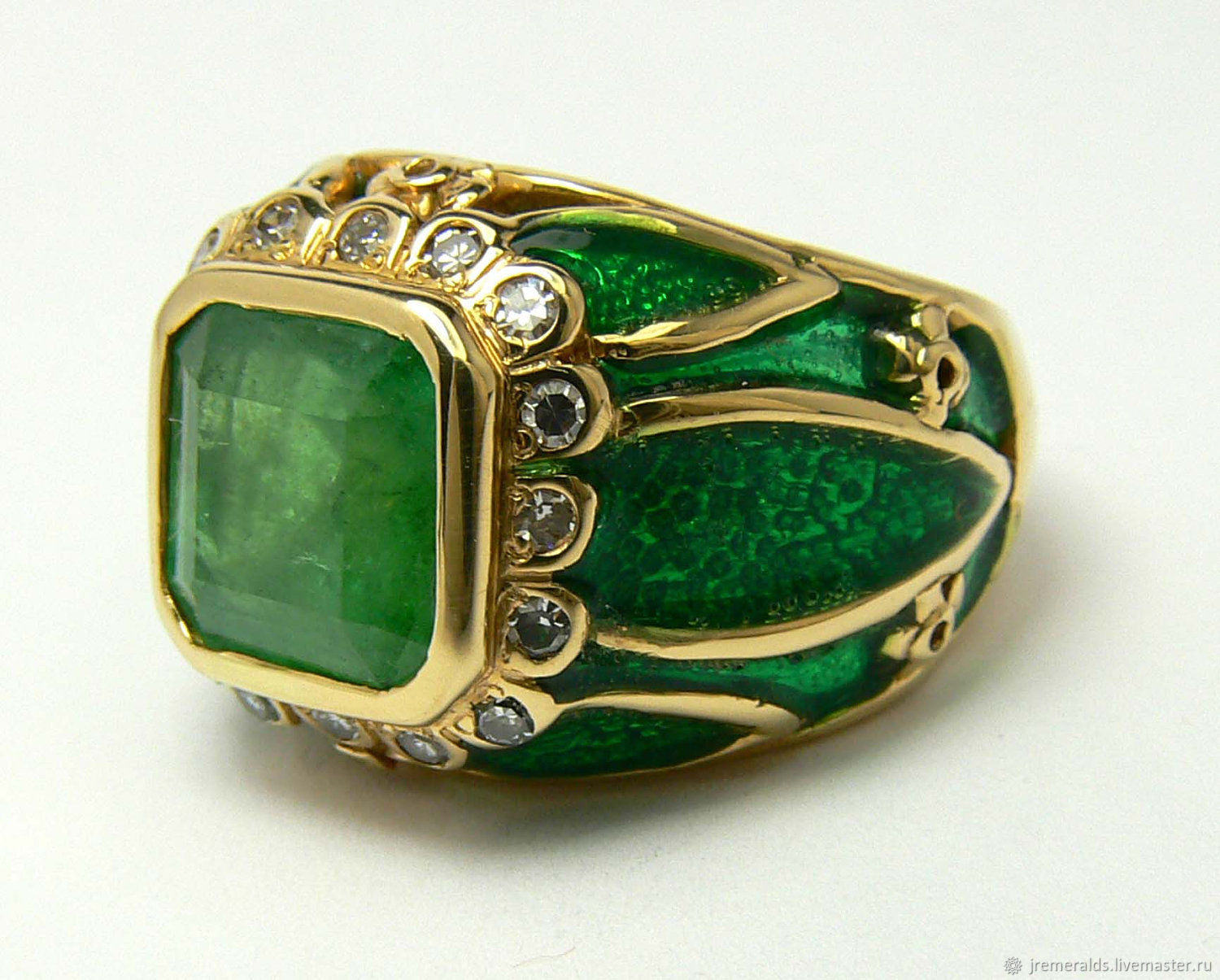 4.30tcw Colombian Emerald Diamond, Enamel & Gold Cocktail Ring,, Rosary bracelet, West Palm Beach,  Фото №1