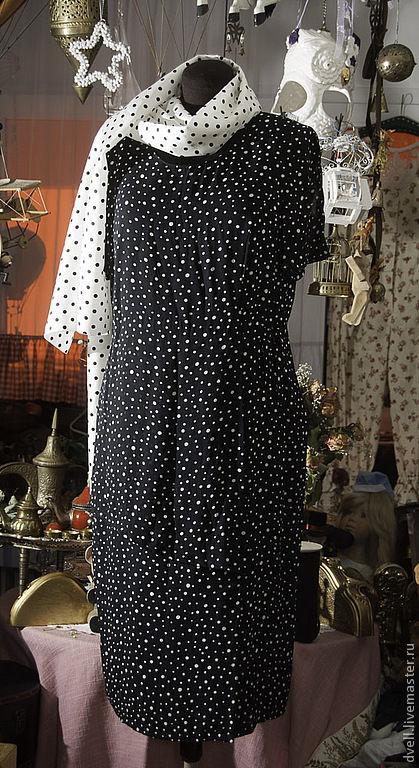 Платья ручной работы. Ярмарка Мастеров - ручная работа. Купить Классика, вечер .горох белый шарф и настроение. Handmade. Черный