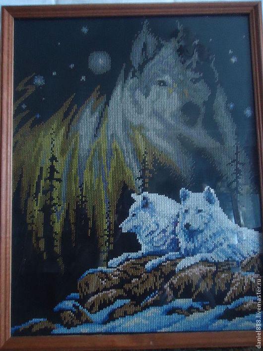 """Животные ручной работы. Ярмарка Мастеров - ручная работа. Купить Картина """"Волчье северное сияние"""". Handmade. Черный, волк, желтый"""