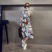 Платья ручной работы. Ярмарка Мастеров - ручная работа Платье-футболка с цветным принтом. Handmade.