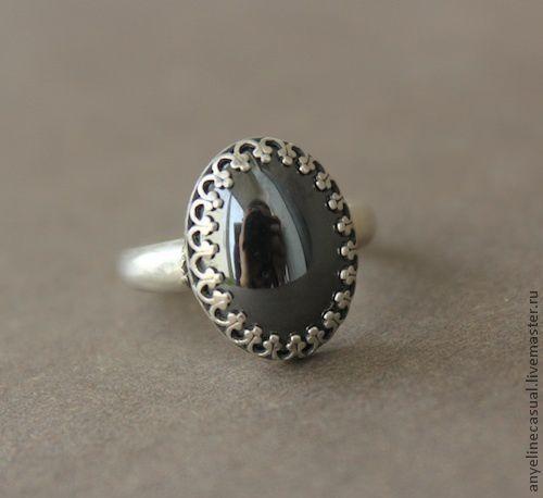 Кольца ручной работы. Ярмарка Мастеров - ручная работа. Купить Кольцо с гематитом. Handmade. Черный, кольцо с камнем