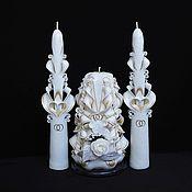 Свадебный салон ручной работы. Ярмарка Мастеров - ручная работа Свадебные резные свечи - семейный очаг - белый золотой айвори цвет. Handmade.