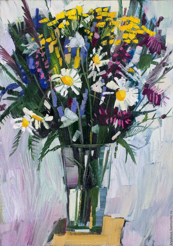 Картина ромашки маслом картина букет цветов в подарок мужчине женщине девушке на день рождения свадьбу  Полевые цветы Картина полевых цветов в подарок Картина с цветами в интерьер Цветы полевые