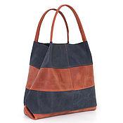 Сумки и аксессуары handmade. Livemaster - original item Shopping Bag Crazy Horse Package Tote Bag Bag Red Blue. Handmade.