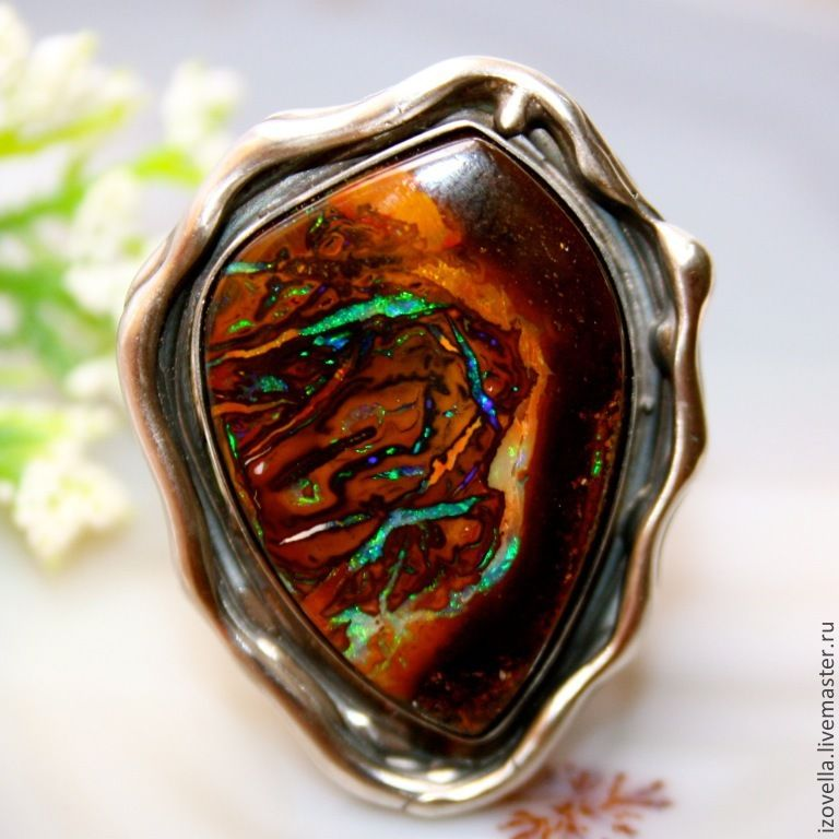 Ring 'Bella' is a natural boulder opal, silver, Rings, Prague,  Фото №1