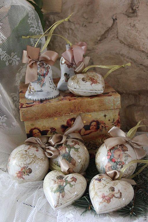 Новый год 2017 ручной работы. Ярмарка Мастеров - ручная работа. Купить Набор новогодних ёлочных игрушек Ангелы в картонной коробке. Handmade.