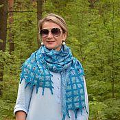 Аксессуары handmade. Livemaster - original item Blue sapphire felted scarf, light air scarf. Handmade.