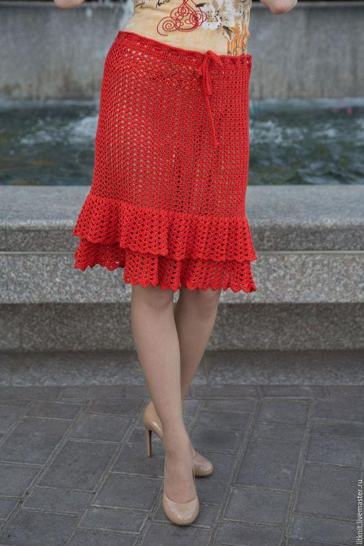 Юбки ручной работы. Ярмарка Мастеров - ручная работа. Купить юбка, вязаная крючком из натурального хлопка, с оборкой. Handmade.