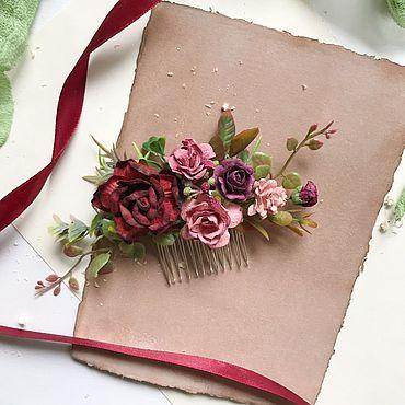 Украшения ручной работы. Ярмарка Мастеров - ручная работа Цветочный гребень с бордовыми и пыльно-розовыми цветами. Handmade.