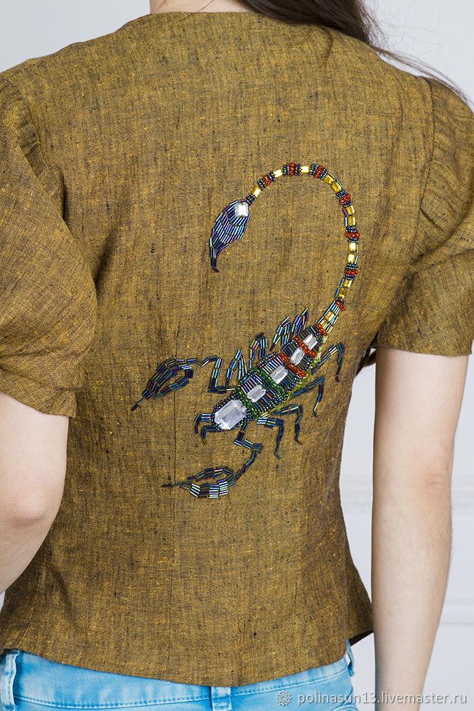 Блузки ручной работы. Ярмарка Мастеров - ручная работа. Купить Льняная блузка 'Скорпион'. Handmade. Вышивка бисером, рисунок