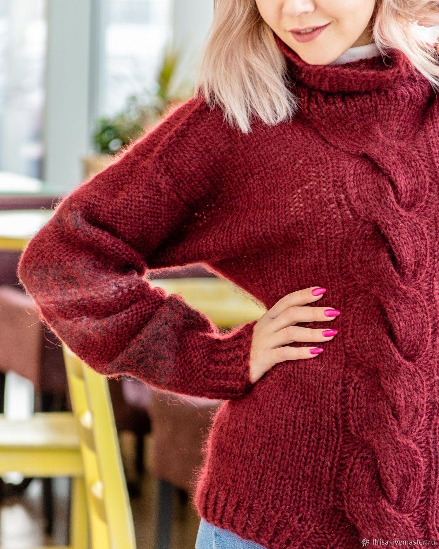 Women's long-sleeved Marsala sweater, Sweaters, Novosibirsk,  Фото №1