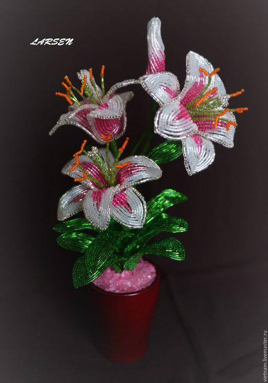 """Цветы ручной работы. Ярмарка Мастеров - ручная работа. Купить Цветы из бисера. Лилии """"Нежность"""". Handmade. Комбинированный, эксклюзив"""