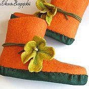 Slippers handmade. Livemaster - original item Female home-made felt boots