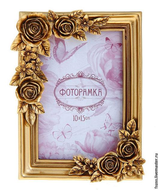рамка для фото золотые розы