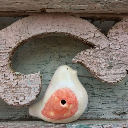 Духовые инструменты ручной работы. Ярмарка Мастеров - ручная работа. Купить Керамическая птичка- свистулька.. Handmade. Белый
