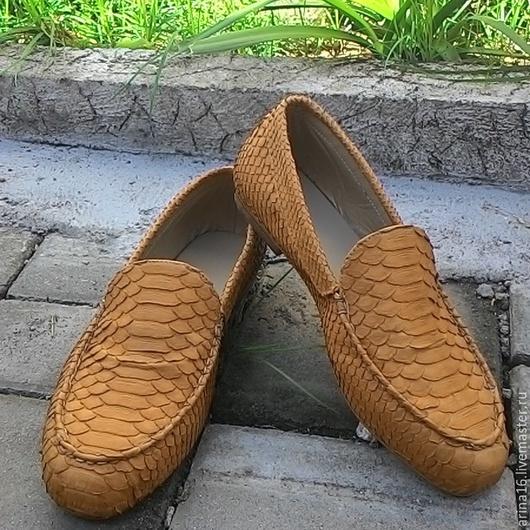 Обувь ручной работы. Ярмарка Мастеров - ручная работа. Купить Мокасины из питона. Handmade. Коричневый, мокасины мужские, мужская обувь