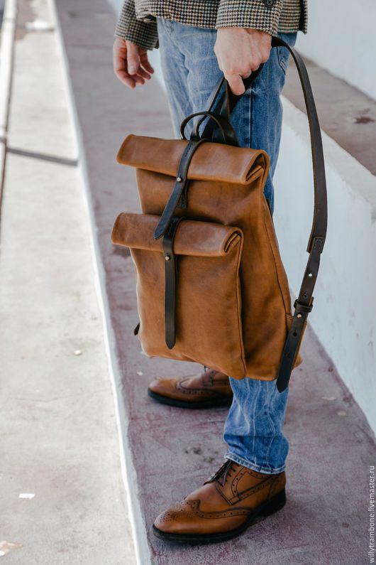 Рюкзаки ручной работы. Ярмарка Мастеров - ручная работа. Купить Рюкзак-скрутка коричневый. Handmade. Коричневый, авторская работа